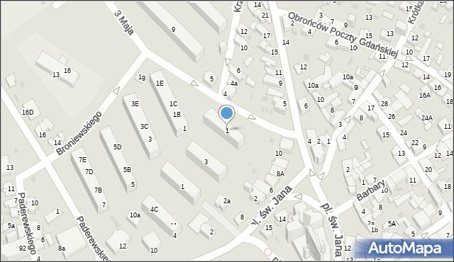 Jaworzno, Krzywa, 1, mapa Jaworzno
