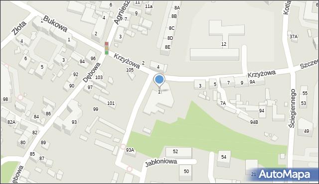 Katowice, Krzyżowa, 1, mapa Katowic