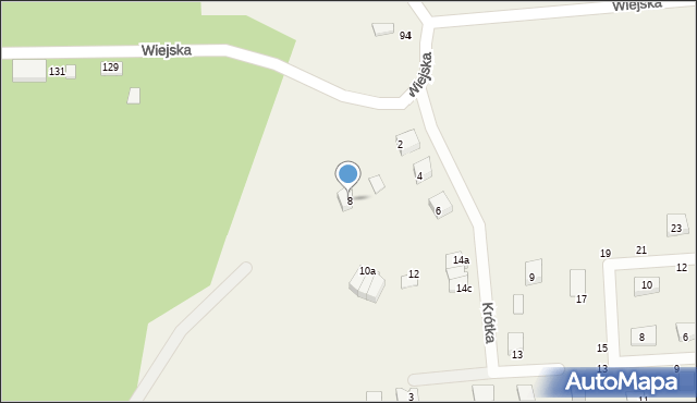 Kębłowo, Krótka, 8, mapa Kębłowo