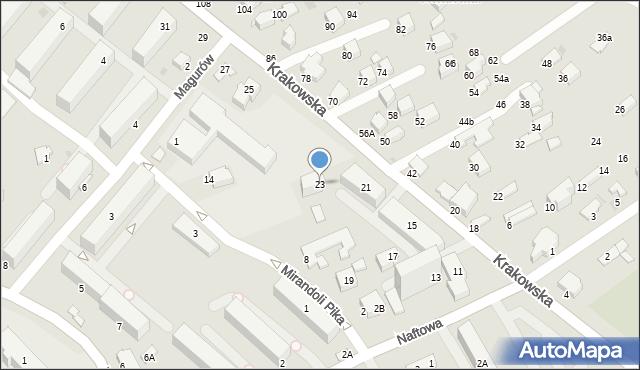 Krosno, Krakowska, 23, mapa Krosna