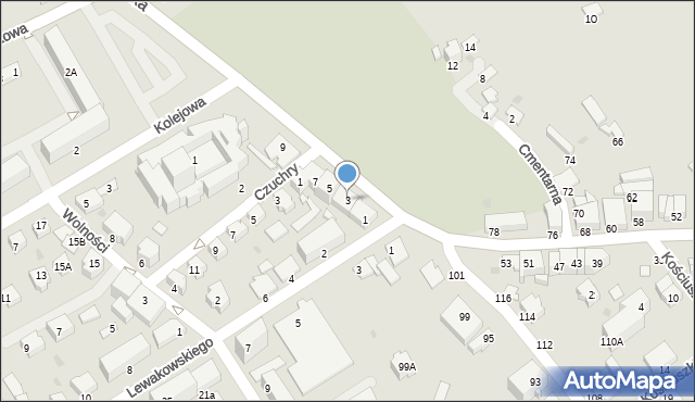 Krosno, Krakowska, 3, mapa Krosna