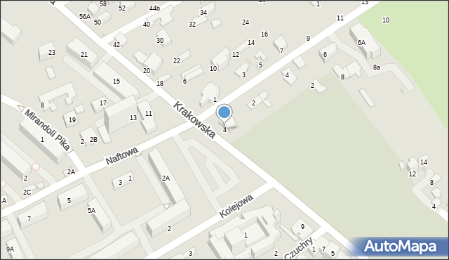 Krosno, Krakowska, 4, mapa Krosna