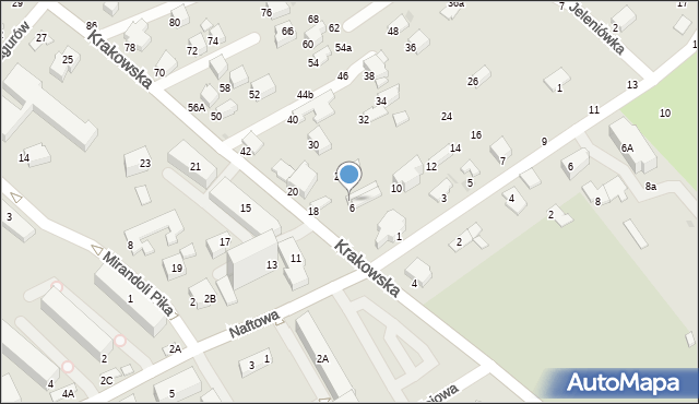 Krosno, Krakowska, 8, mapa Krosna
