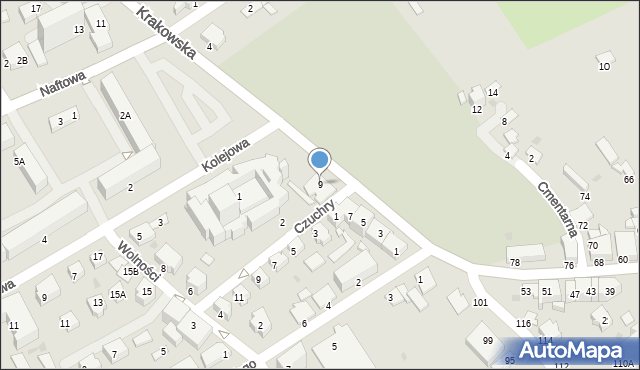 Krosno, Krakowska, 9, mapa Krosna