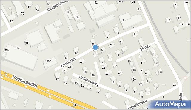 Krosno, Krukierka Jędrzeja, 11, mapa Krosna