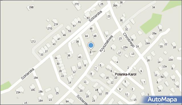 Krosno, Kryształowa, 6, mapa Krosna