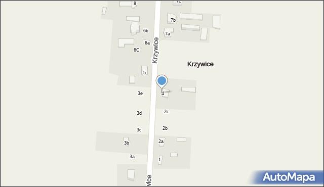 Krzywice, Krzywice, 4, mapa Krzywice