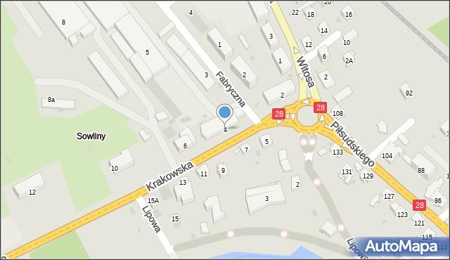 Limanowa, Krakowska, 4, mapa Limanowa