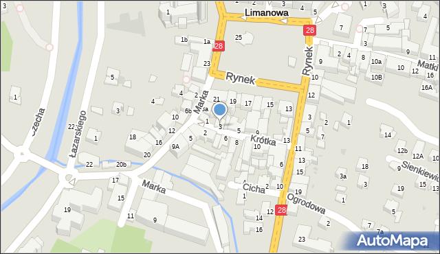 Limanowa, Krótka, 3, mapa Limanowa