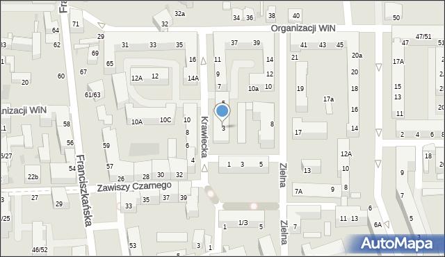 Łódź, Krawiecka, 3, mapa Łodzi