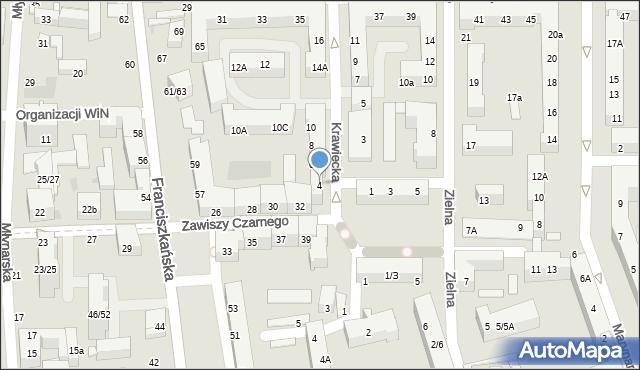 Łódź, Krawiecka, 4, mapa Łodzi