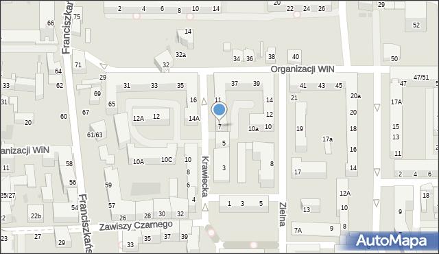 Łódź, Krawiecka, 7, mapa Łodzi