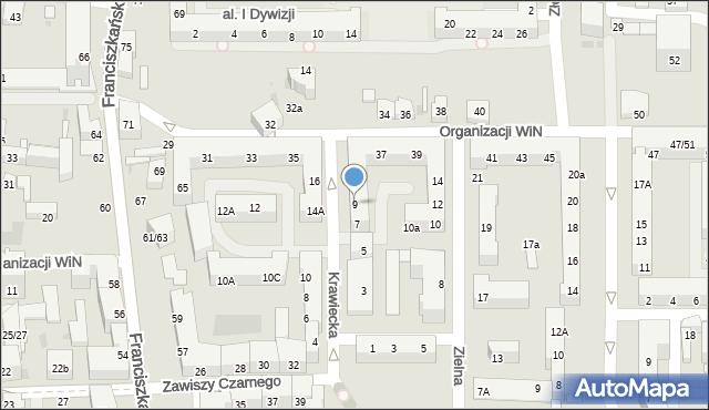 Łódź, Krawiecka, 9, mapa Łodzi