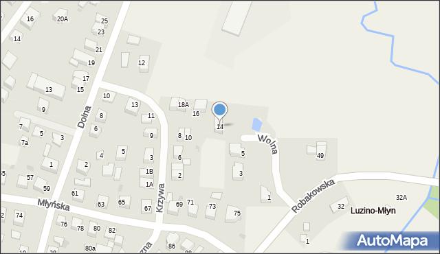 Luzino, Krzywa, 14, mapa Luzino