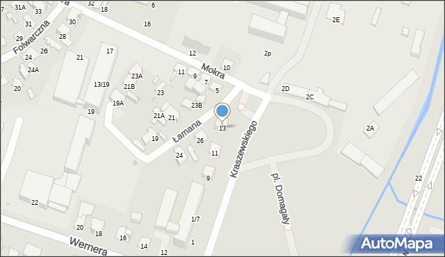 Radom, Kraszewskiego Józefa Ignacego, 13, mapa Radomia