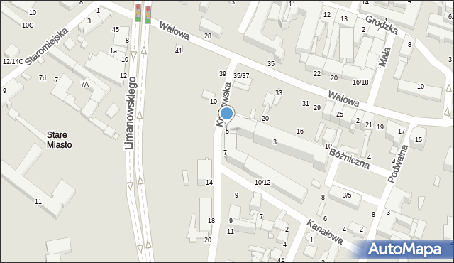 Radom, Krakowska, 5, mapa Radomia