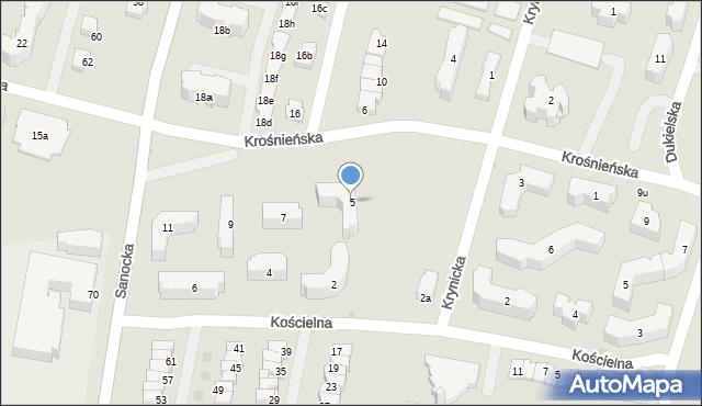 Rzeszów, Krośnieńska, 5, mapa Rzeszów