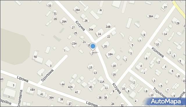 Sokołów Podlaski, Krzywa, 17, mapa Sokołów Podlaski