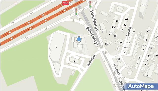 Sosnowiec, Kresowa, 2, mapa Sosnowca