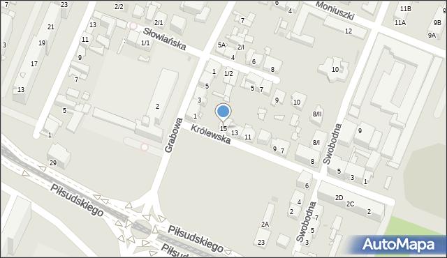 Sosnowiec, Królewska, 15, mapa Sosnowca