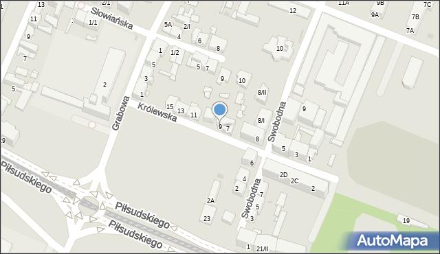 Sosnowiec, Królewska, 9, mapa Sosnowca
