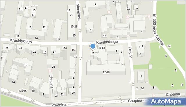 Toruń, Krasińskiego Zygmunta, 13, mapa Torunia