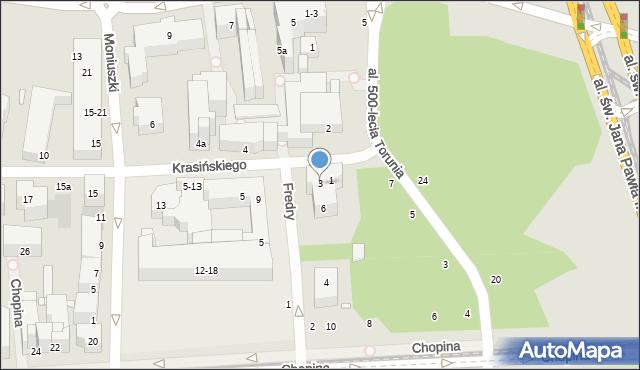 Toruń, Krasińskiego Zygmunta, 3, mapa Torunia