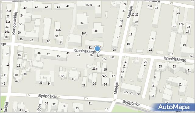 Toruń, Krasińskiego Zygmunta, 37, mapa Torunia