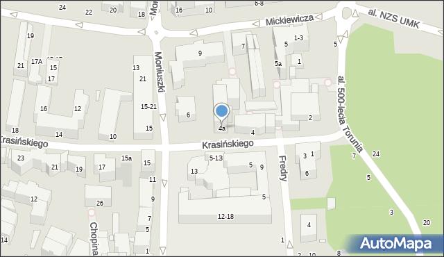 Toruń, Krasińskiego Zygmunta, 4a, mapa Torunia