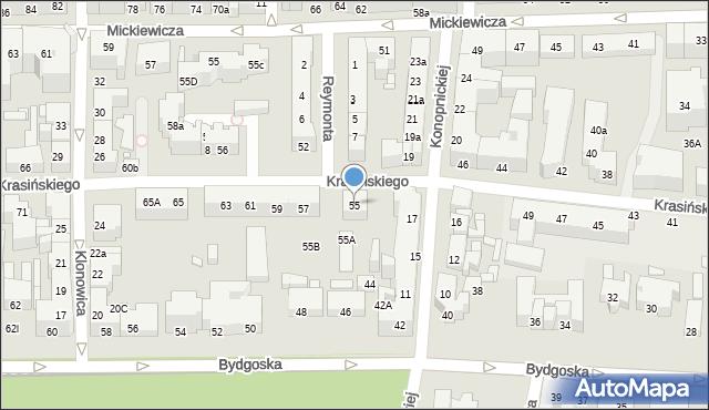 Toruń, Krasińskiego Zygmunta, 55, mapa Torunia