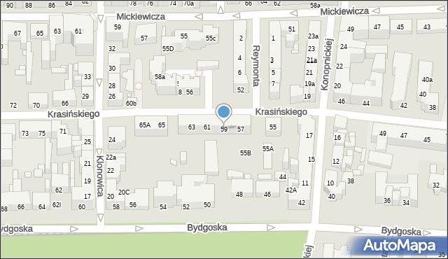 Toruń, Krasińskiego Zygmunta, 59, mapa Torunia