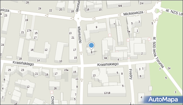 Toruń, Krasińskiego Zygmunta, 6, mapa Torunia