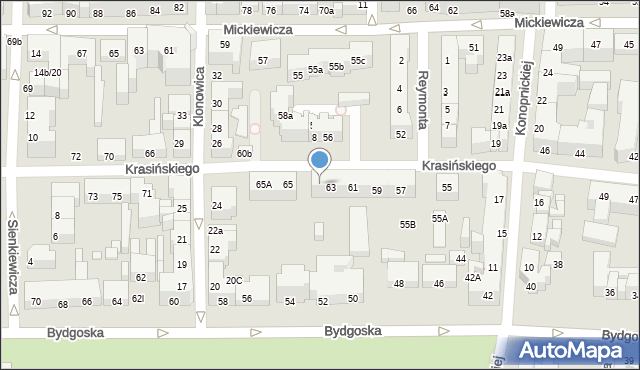 Toruń, Krasińskiego Zygmunta, 63A, mapa Torunia