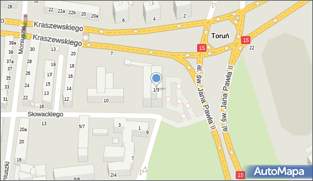Toruń, Kraszewskiego Józefa Ignacego, 1/3, mapa Torunia