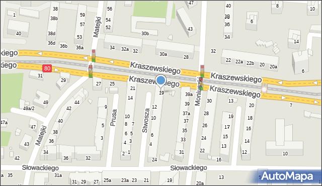 Toruń, Kraszewskiego Józefa Ignacego, 19, mapa Torunia