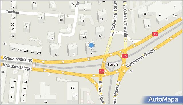 Toruń, Kraszewskiego Józefa Ignacego, 2, mapa Torunia