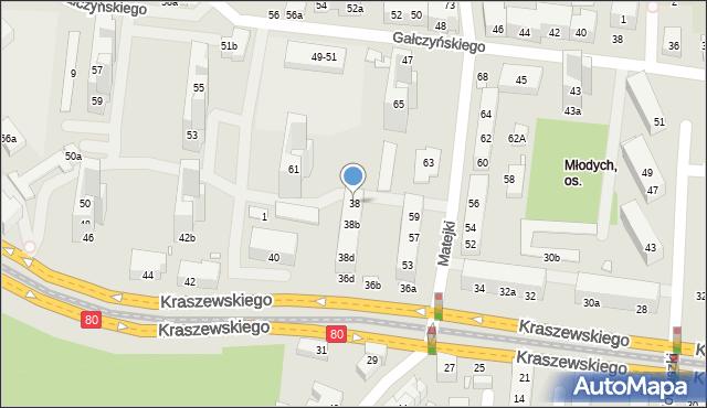 Toruń, Kraszewskiego Józefa Ignacego, 38, mapa Torunia