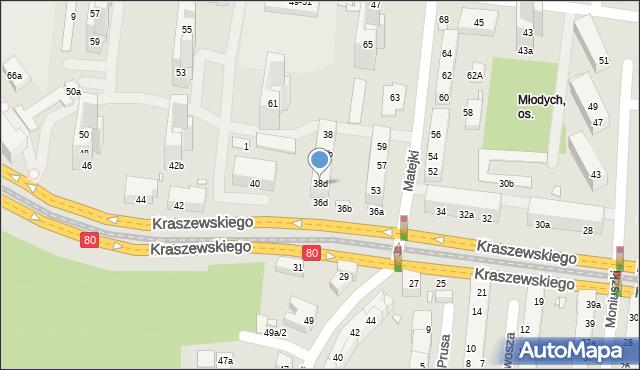 Toruń, Kraszewskiego Józefa Ignacego, 38d, mapa Torunia