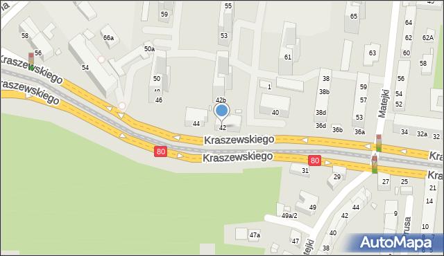 Toruń, Kraszewskiego Józefa Ignacego, 42, mapa Torunia