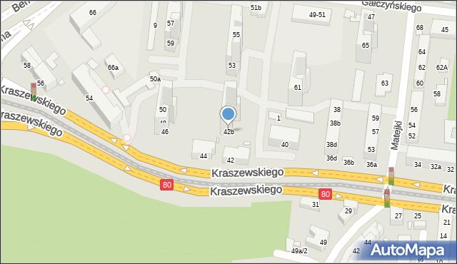 Toruń, Kraszewskiego Józefa Ignacego, 42b, mapa Torunia