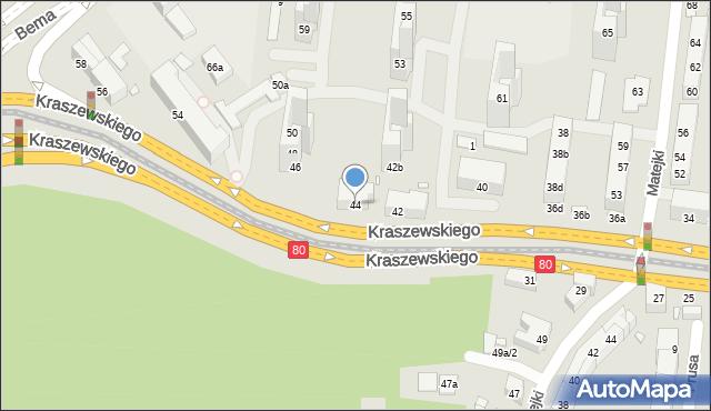 Toruń, Kraszewskiego Józefa Ignacego, 44, mapa Torunia