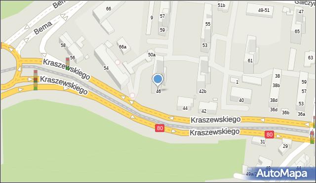 Toruń, Kraszewskiego Józefa Ignacego, 46, mapa Torunia