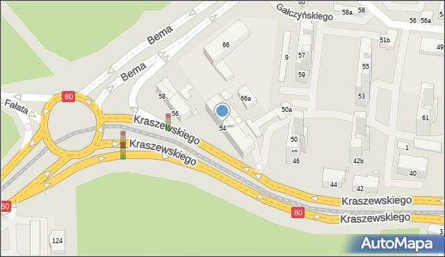 Toruń, Kraszewskiego Józefa Ignacego, 54, mapa Torunia