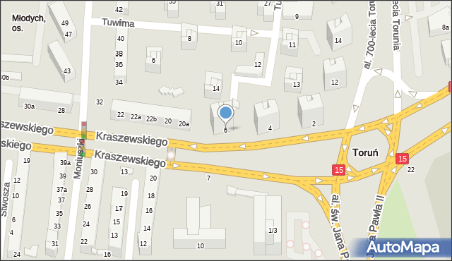 Toruń, Kraszewskiego Józefa Ignacego, 6, mapa Torunia