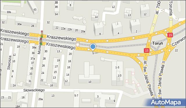 Toruń, Kraszewskiego Józefa Ignacego, 7, mapa Torunia