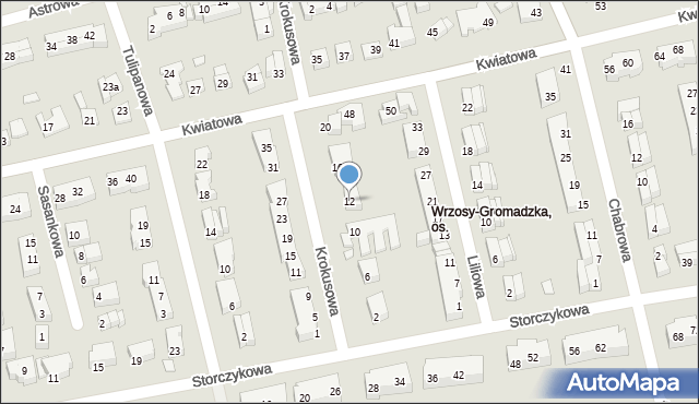 Toruń, Krokusowa, 12, mapa Torunia