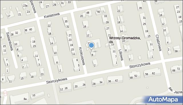 Toruń, Krokusowa, 8, mapa Torunia