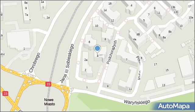 Toruń, Króla Jana III Sobieskiego, 4, mapa Torunia