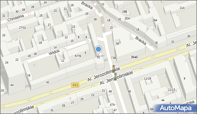 Warszawa, Krucza, 51, mapa Warszawy