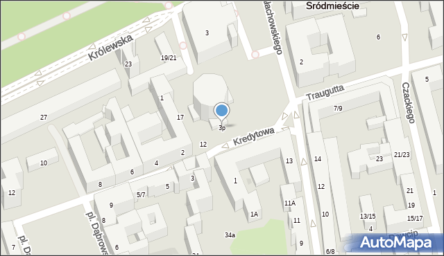 Warszawa, Kredytowa, 3p, mapa Warszawy